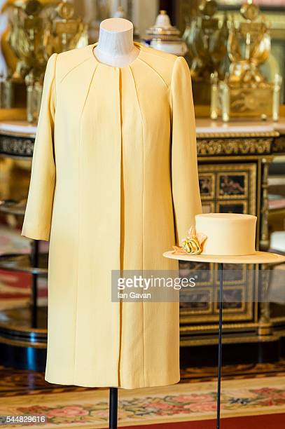 A general view of an outfit and hat designed by Angela Kelly worn by The Queen to the wedding of Prince William and Catherine Middleton at...
