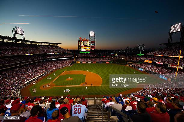 A general view of an overall of Citizens Bank Park baseball stadium shot from the upper deck at dusk the field during the game of the Philadelphia...