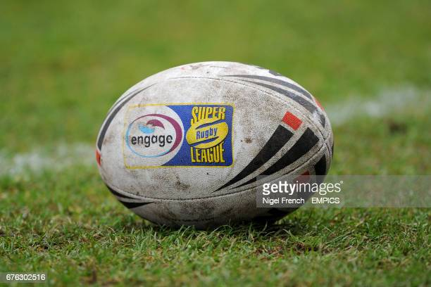 General view of an Steeden official engage Super Rugby league ball lying on the grass