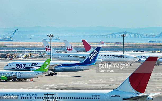 A general view of ANA and JAL Boeing 787 aeroplanes at Tokyo International Airport on January 31 2013 in Tokyo Japan Boeing 787's biggest operator...