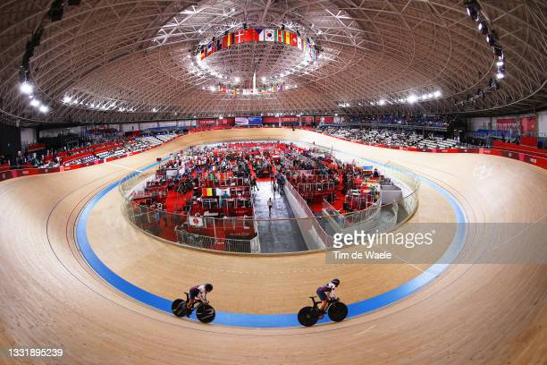 General view of Anastasiia Voinova and Daria Shmeleva and Daria Shmeleva of Team ROC sprint during the Women's team sprint qualifying of the Track...