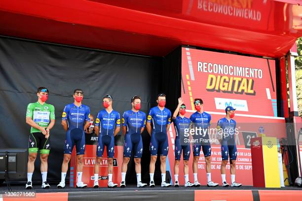 General view of Andrea Bagioli of Italy, Josef Cerny of Czech Republic, Fabio Jakobsen of Netherlands Green Points Jersey, James Knox of United...