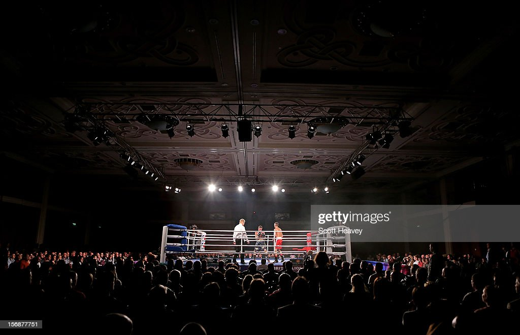 A general view of Andrew Selby of British Lionhearts (R) in action with Daniele Limone of Italia Thunder during their 50-54kg bout in the World Series of Boxing between British Lionhearts and Italia Thunder on November 23, 2012 in Newport, Wales.