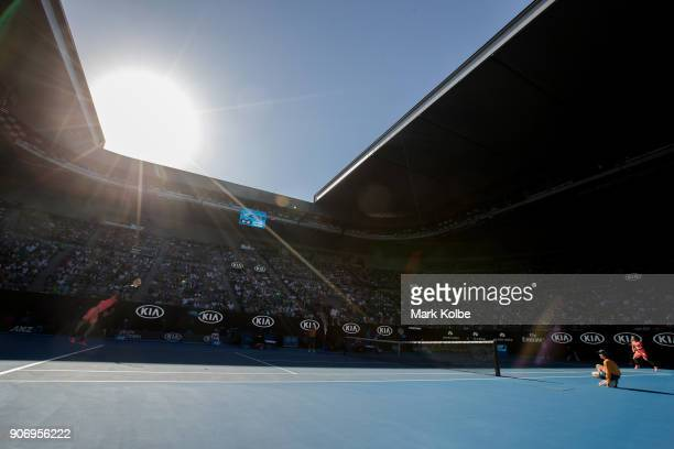 A general view of Andrey Rublev of Russia serving on Rod Laver Arena in his third round match against Grigor Dimitrov of Bulgaria on day five of the...