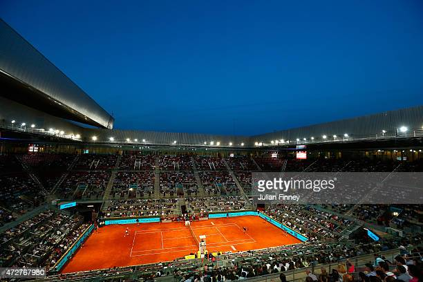 A general view of Andy Murray of Great Britain in action against Kei Nishikori of Japan in the semi final during day eight of the Mutua Madrid Open...