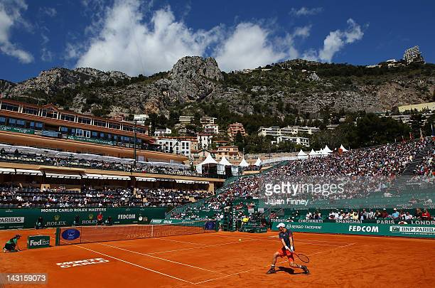 A general view of Andy Murray of Great Britain playing a backhand in his match against Tomas Berdych of Czech Republicduring day six of the ATP Monte...