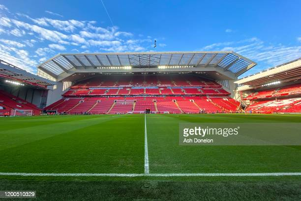 General view of Anfield ahead of the Premier League match between Liverpool FC and Manchester United at Anfield on January 19, 2020 in Liverpool,...