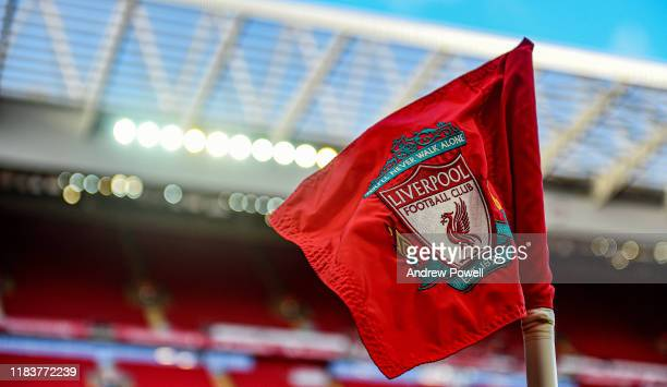 General view of Anfield before the Premier League match between Liverpool FC and Tottenham Hotspur at Anfield on October 27, 2019 in Liverpool,...