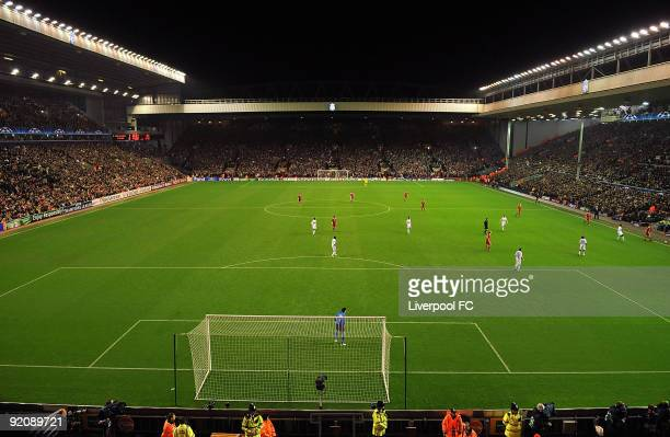 General view of Anfield during the UEFA Champions League group E match between Lyon and Liverpool at Anfield on October 20 2009 in Liverpool England