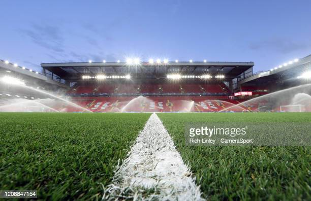 A general view of Anfield home of Liverpool FC ahead of the UEFA Champions League round of 16 second leg match between Liverpool FC and Atletico...