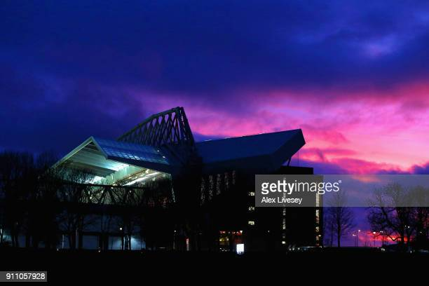 A general view of Anfield is seen prior to The Emirates FA Cup fourth round match between Liverpool and West Bromwich Albion at Anfield on January 27...