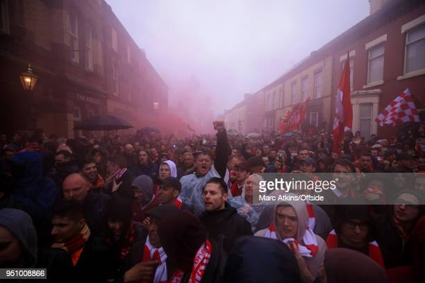 A general view of Anfield Road as fans fill the streets prior to the UEFA Champions League Semi Final First Leg match between Liverpool and AS Roma...