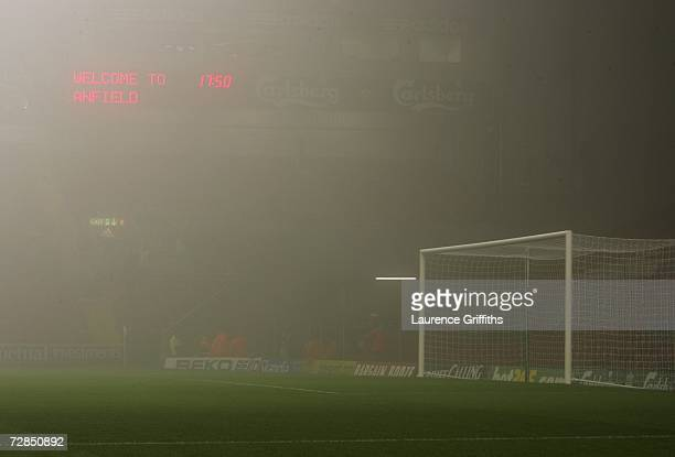 General view of Anfield shrouded in fog prior to the Carling Cup quarter final match between Liverpool and Arsenal at Anfield on December 19 2006 in...
