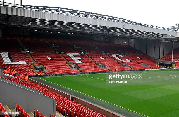 A general view of Anfield Stadium during the pre season friendly match between Liverpool and Bayer Leverkusen at Anfield on August 12 2012 in...
