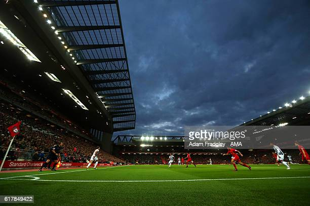 TA general view of Anfield Stadium the home of Liverpool during the Premier League match between Liverpool and West Bromwich Albion at Anfield on...