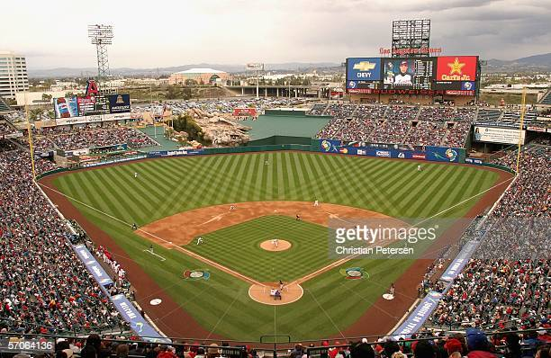 General view of Angel Stadium as Ichiro Suzuki of Team Japan bats against Team USA during the Round 2 Pool 2 Game of the World Baseball Classic at...