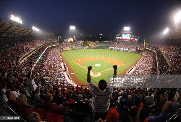General view of Angel Stadium during Major League Baseball game between the Los Angeles Dodgers and Los Angeles Angels of Anaheim in Anaheim Calif on...