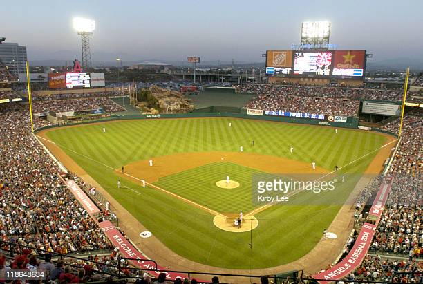 General view of Angel Stadium home of the Anaheim Angels