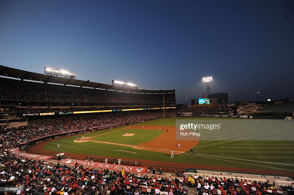 A general view of Angel Stadium is seen during the game between the Los Angeles Angels of Anaheim and the Oakland Athletics at Angel Stadium in Anaheim, California on May 15, 2010. The Angels defeated the Athletics 12-3.