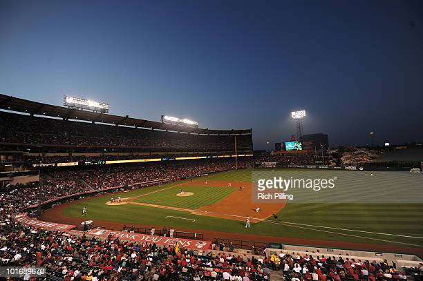A general view of Angel Stadium is seen during the game between the Los Angeles Angels of Anaheim and the Oakland Athletics at Angel Stadium in...