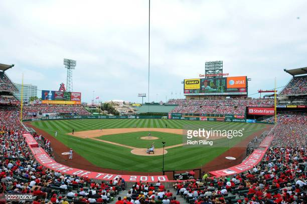 A general view of Angel Stadium is seen during the game between the Los Angeles Angels of Anaheim and the Oakland Ahtletics at Angel Stadium in...