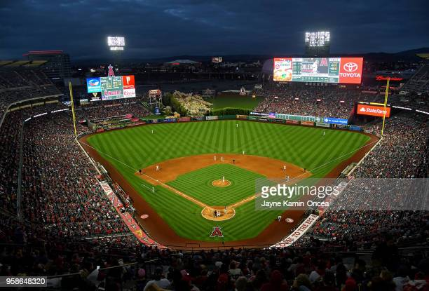 General view of Angel Stadium of Anaheim during the game between the Los Angeles Angels of Anaheim and the Minnesota Twins on May 12 2018 in Anaheim...