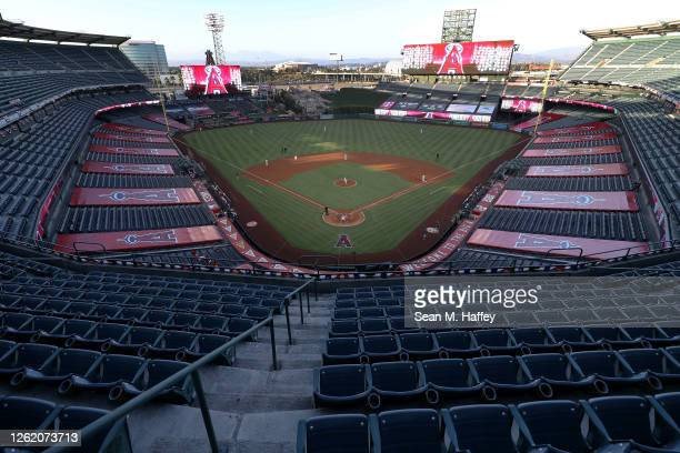 General view of Angel Stadium of Anaheim prior to the Los Angeles Angels home opener against the Seattle Mariners on July 28, 2020 in Anaheim,...