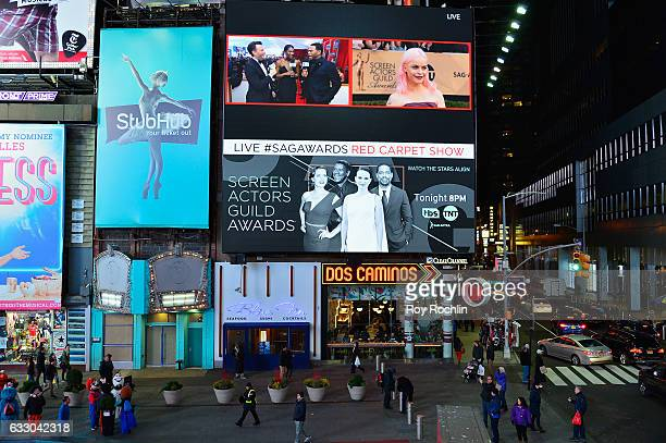 General view of Anthony Anderson and Taryn Manning during TNT's 23rd Annual Screen Actors Guild Awards preshow viewing in Times Square on January 29...