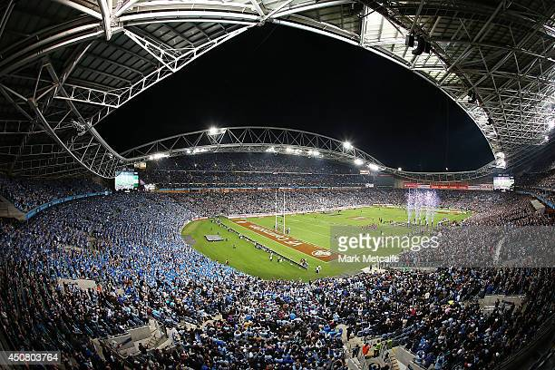 General view of ANZ stadium as the teams run onto the field during game two of the State of Origin series between the New South Wales Blues and the...