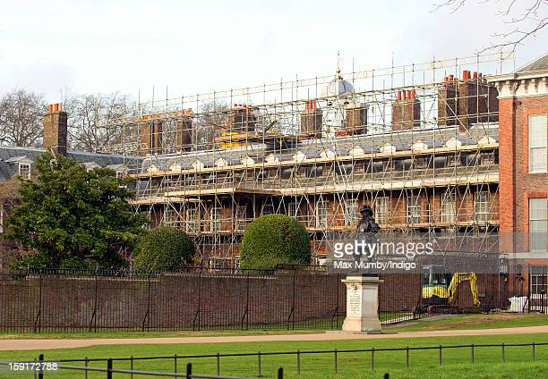 A general view of Apartment 1A at Kensington Palace which is covered in scaffolding whilst refurbishment works are being carried out on January 08...