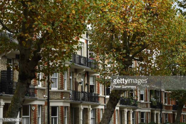 General view of apartment buildings in Maida Vale on October 26, 2020 in London, England. As many young people renting rooms have left the capital...