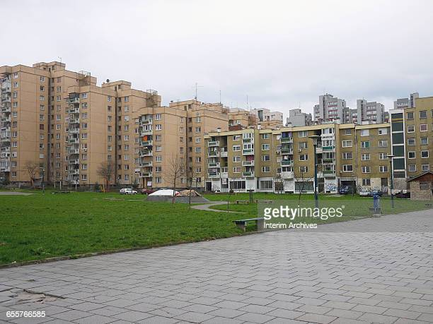 General view of apartment buildings in the Mojmilo Olympic village in Sarajevo, Bosnia and Hercegovina, March 2015. It is located in the municipality...