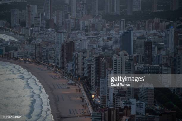A general view of apartment towers at dusk on May 11 2020 in Benidorm Spain Some parts of Spain have entered the socalled Phase One transition from...