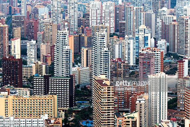 A general view of apartment towers on July 22 2015 in Benidorm Spain Spain has set a new record for visitors with 292 million visitors in June 42%...