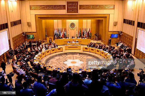 A general view of Arab foreign ministers meeting at the Arab League headquarters on November 3 2013 in Cairo Egypt Arab Foreign Ministers discuss the...