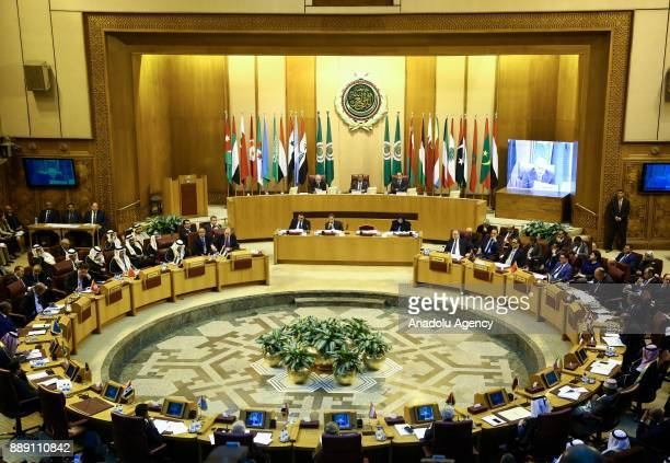 General view of Arab League foreign ministers emergency meeting in the Egyptian capital Cairo on December 9 2017 The meeting is held to discuss...