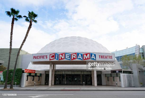 A general view of Arclight CinemaÄôs Cinerama Dome movie theater after Los Angeles ordered the closure of all nonessential services and entertainment...