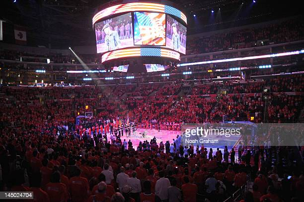 General view of arena and jumbotron during the game between the San Antonio Spurs and the Los Angeles Clippers in Game Three of the Western...