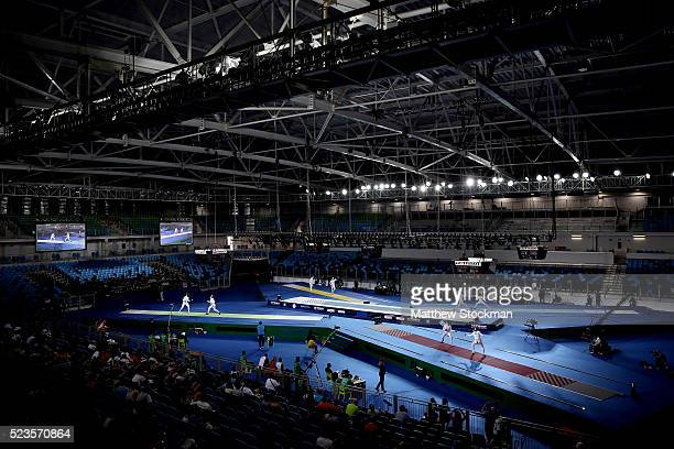 General view of Arena Carioca 3 during the women's Epee at the International Fencing Tournament Aquece Rio Test Event for the Rio 2016 Olympics in...