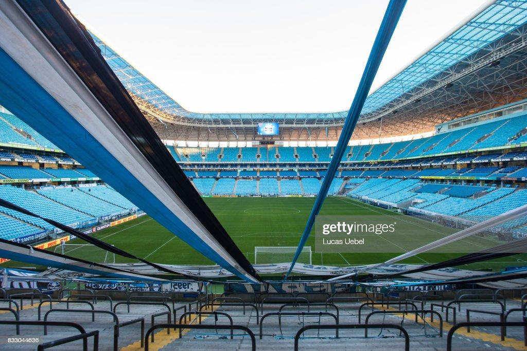 General view of Arena do Gremio before the Gremio v Cruzeiro match, part of Copa do Brasil Semi-Finals 2017, at Arena do Gremio on August 16, 2017, in Porto Alegre, Brazil.