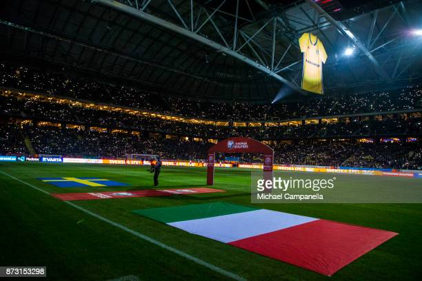 General view of arena during the FIFA 2018 World Cup Qualifier PlayOff First Leg between Sweden and Italy at Friends arena on November 10 2017 in...