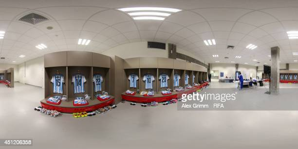A general view of Argentina dressing room before the 2014 FIFA World Cup Brazil Group F match between Nigeria v Argentina at Estadio BeiraRio on June...