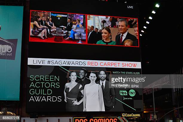 General view of Ariadna Gil and Viggo Mortensen during TNT's 23rd Annual Screen Actors Guild Awards preshow viewing in Times Square on January 29...
