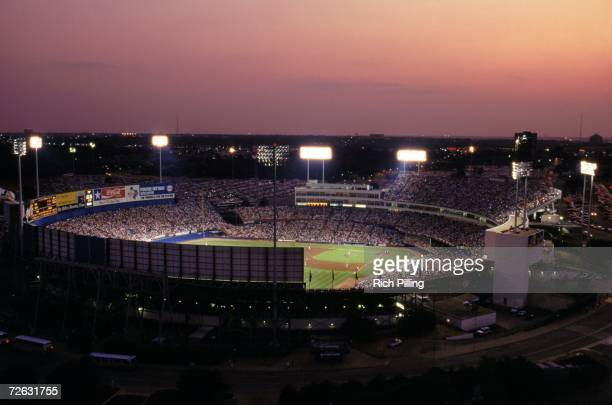 General view of Arlington Stadium on Nolan Ryan Day during a Texas Ranger game in 1993 in Arlington, Texas.