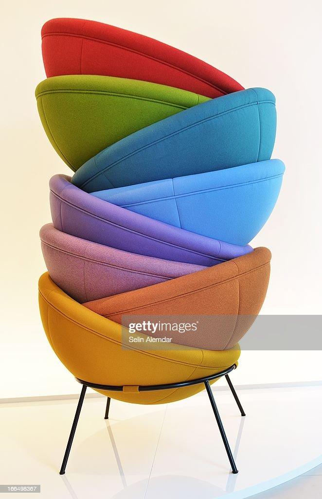 A general view of Arper, Bardi's Bowl Chair at Porta Venezia as part of 2013 Milan Design Week on April 13, 2013 in Milan, Italy.