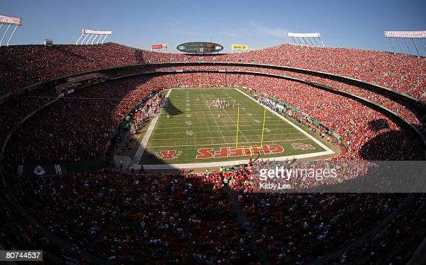 General view of Arrowhead Stadium and crowd of 78,097 during game between the Oakland Raiders and Kansas City Chiefs in Kansas City, Mo. On Sunday,...