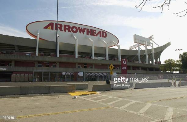 General view of Arrowhead Stadium as the Kansas City Chiefs go on to defeat the Buffalo Bills on October 26, 2003 in Kansas City, Missouri. The...