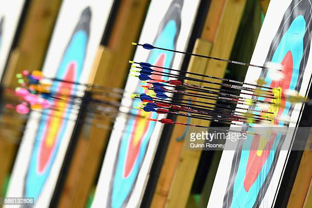 A general view of arrows on the target boards during the Men's Individual Ranking Round on Day 0 of the Rio 2016 Olympic Games at the Sambodromo...