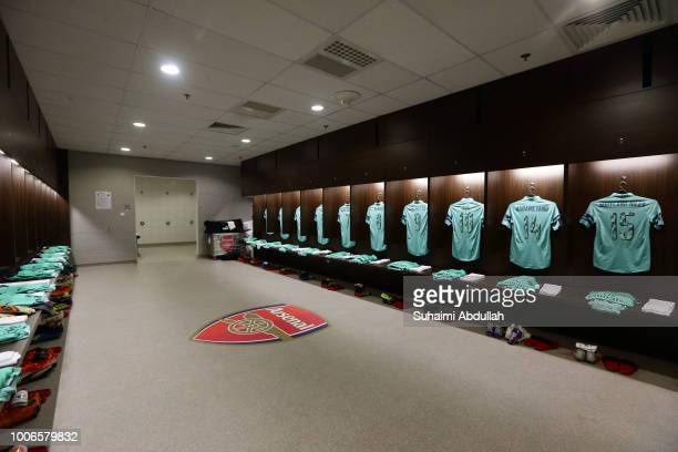 General view of Arsenal dressing room ahead of the International Champions Cup match between Arsenal and Paris Saint Germain at the National Stadium...