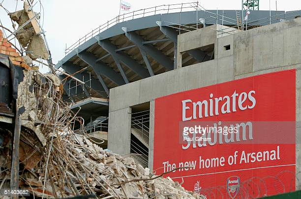 A general view of Arsenal Football Club's new Emirates Stadium development is seen at Ashburton Grove on October 5 2004 in London Arsenal have just...